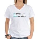 Tax Rich. Cut Military. Build Women's V-Neck T-Shi