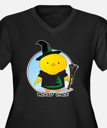 Wicked Chick Women's Plus Size V-Neck Dark T-Shirt