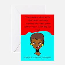 Funny birthday devil deal Greeting Card