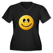 Happy Smiley Women's Plus Size V-Neck Dark T-Shirt