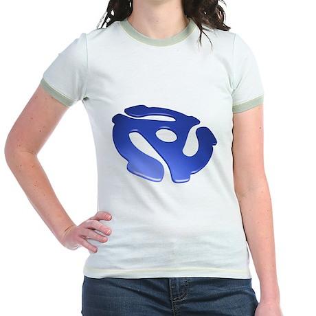 Blue 3D 45 RPM Adapter Jr. Ringer T-Shirt
