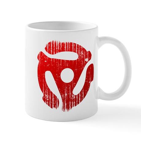 Distressed Red 45 RPM Adapter Mug