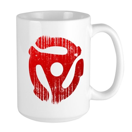 Distressed Red 45 RPM Adapter Large Mug