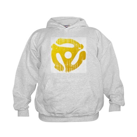 Distressed Yellow 45 RPM Adapter Kids Hoodie