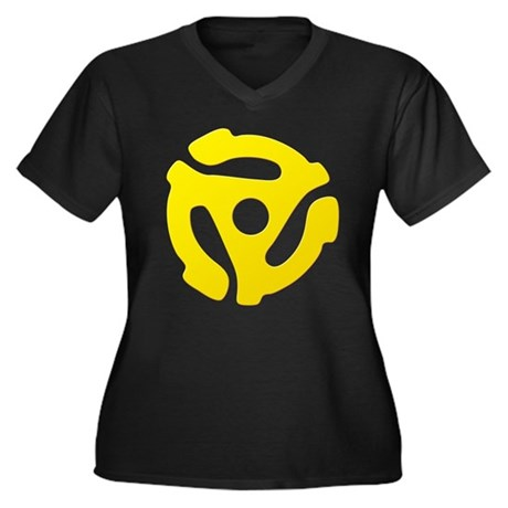 Yellow 45 RPM Adapter Women's Plus Size V-Neck Dar