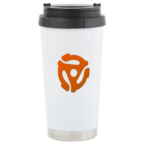 Orange 45 RPM Adapter Stainless Steel Travel Mug