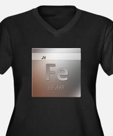 Iron (Fe) Women's Plus Size V-Neck Dark T-Shirt