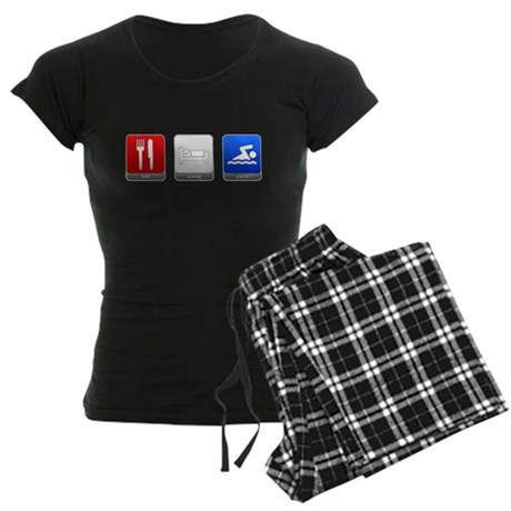 Eat, Sleep, Swim Women's Dark Pajamas