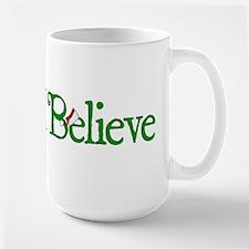 I Believe with Santa Hat Large Mug