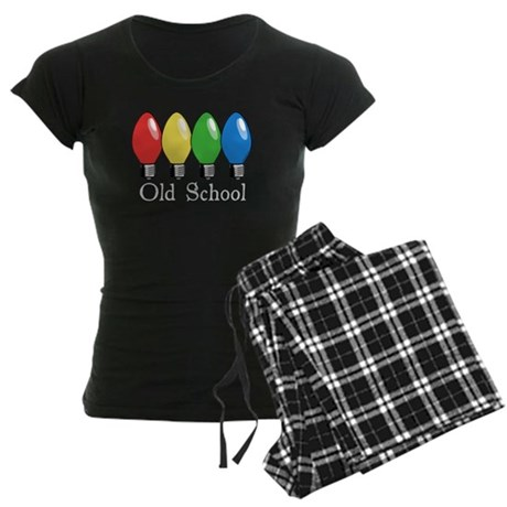 Old School Christmas Lights Women's Dark Pajamas