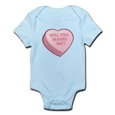 WILL YOU MARRY ME? Candy Heart Infant Bodysuit