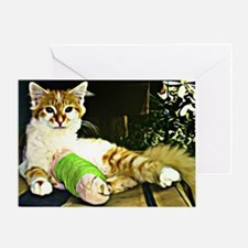Kitten with a leg cast Greeting Card