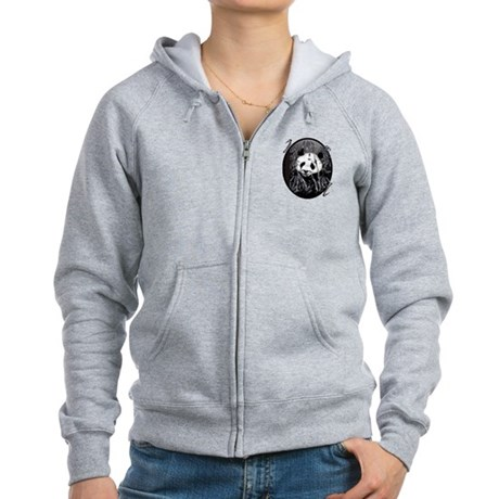 Grey Tone Panda Women's Zip Hoodie