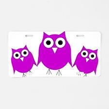 Cute Three owls Aluminum License Plate
