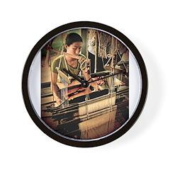 Cambodian Silk Weaver Wall Clock
