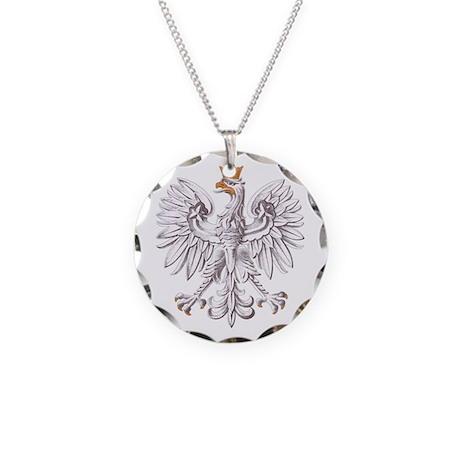 Polish White Eagle Necklace Circle Charm