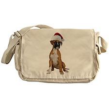 Santa Boxer Puppy Messenger Bag