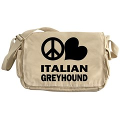Peace Love Italian Greyhound Messenger Bag