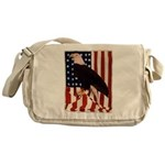 Bald Eagle and Flag Messenger Bag