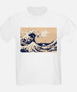 Pixel Tsunami Great Wave 8 Bit Art T-Shirt