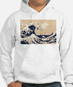 Pixel Tsunami Great Wave 8 Bit Art Hoodie