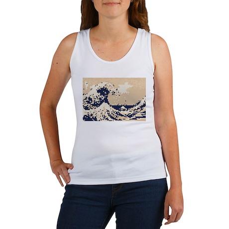 Pixel Tsunami Great Wave 8 Bit Art Women's Tank To
