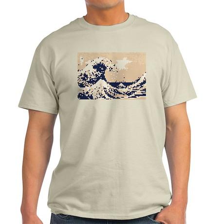Pixel Tsunami Great Wave 8 Bit Art Light T-Shirt