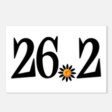 26.2 black orange flower Postcards (Package of 8)