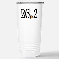 26.2 black orange flower Travel Mug