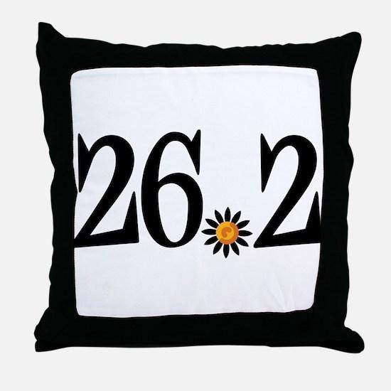 26.2 black orange flower Throw Pillow