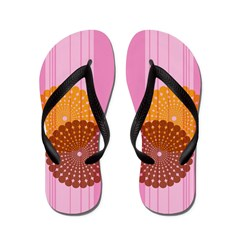 Circular Overlap Pink Flip Flops