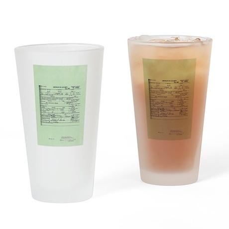 Obama Birth Certificate Drinking Glass