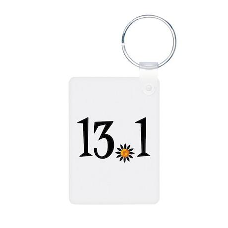 13.1 with orange flower Aluminum Photo Keychain