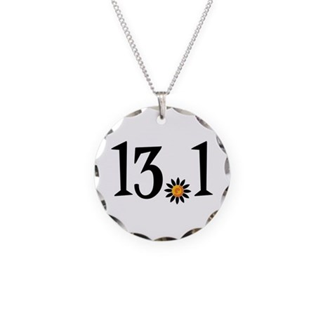 13.1 with orange flower Necklace Circle Charm