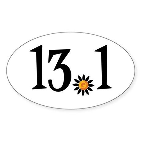 13.1 with orange flower Sticker (Oval)