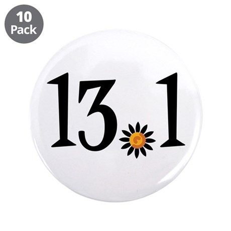 "13.1 with orange flower 3.5"" Button (10 pack)"