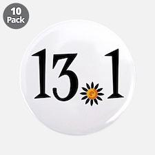 "13.1 with orange flower 3.5"" Button (10 pack)"