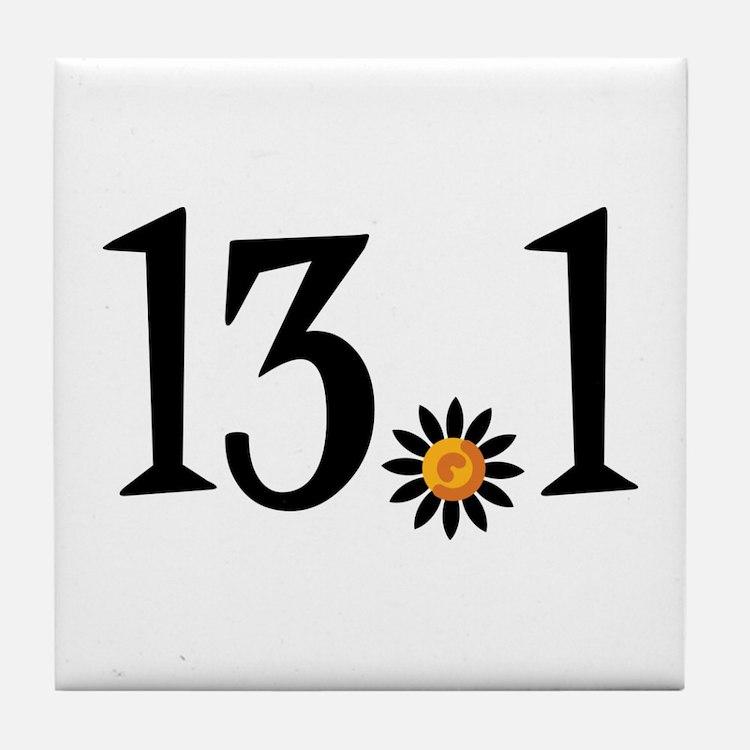 13.1 with orange flower Tile Coaster