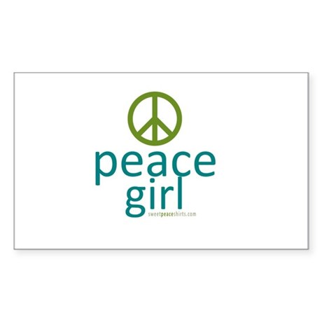 Peace Girl Sticker (Rectangle)