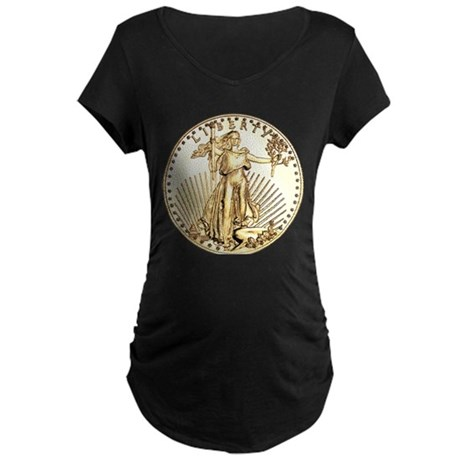 The Liberty Gold Coin Maternity Dark T-Shirt