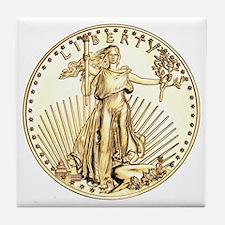 The Liberty Gold Coin Tile Coaster