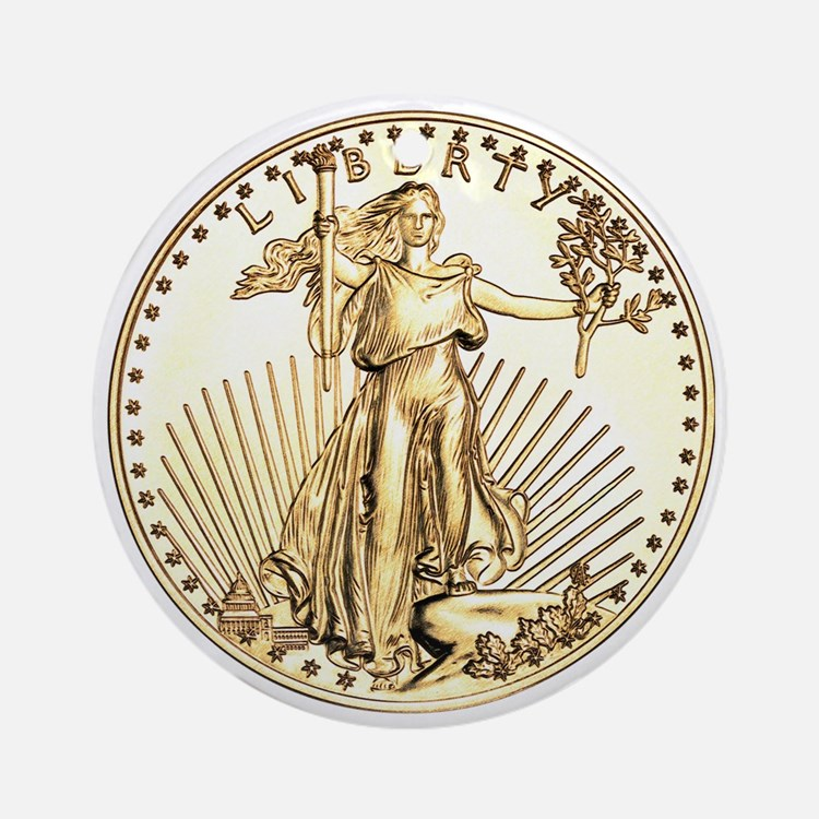 The Liberty Gold Coin Ornament (Round)