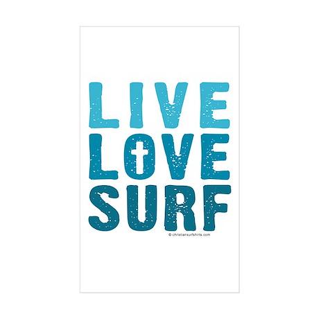 Live Love Surf - Sticker (Rectangle 10 pk)
