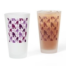 Purple Poodle Polka Dot Drinking Glass