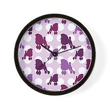 Purple Poodle Polka Dot Wall Clock