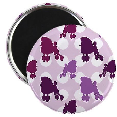 """Purple Poodle Polka Dot 2.25"""" Magnet (10 pack)"""