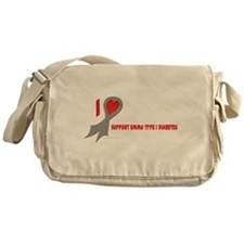 Gray I Heart/Support Support Canvas Messenger Bag