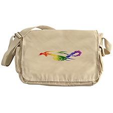 Rainbow Pride Dragon Canvas Messenger Bag