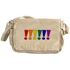 Rainbow Exclamation Points Canvas Messenger Bag