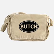 BUTCH Black Euro Oval Canvas Messenger Bag